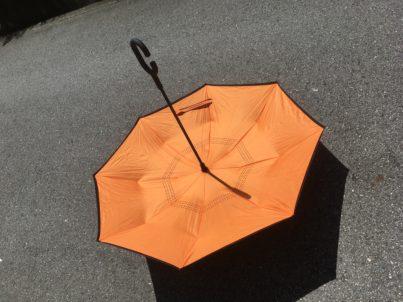 照れくさそうな傘